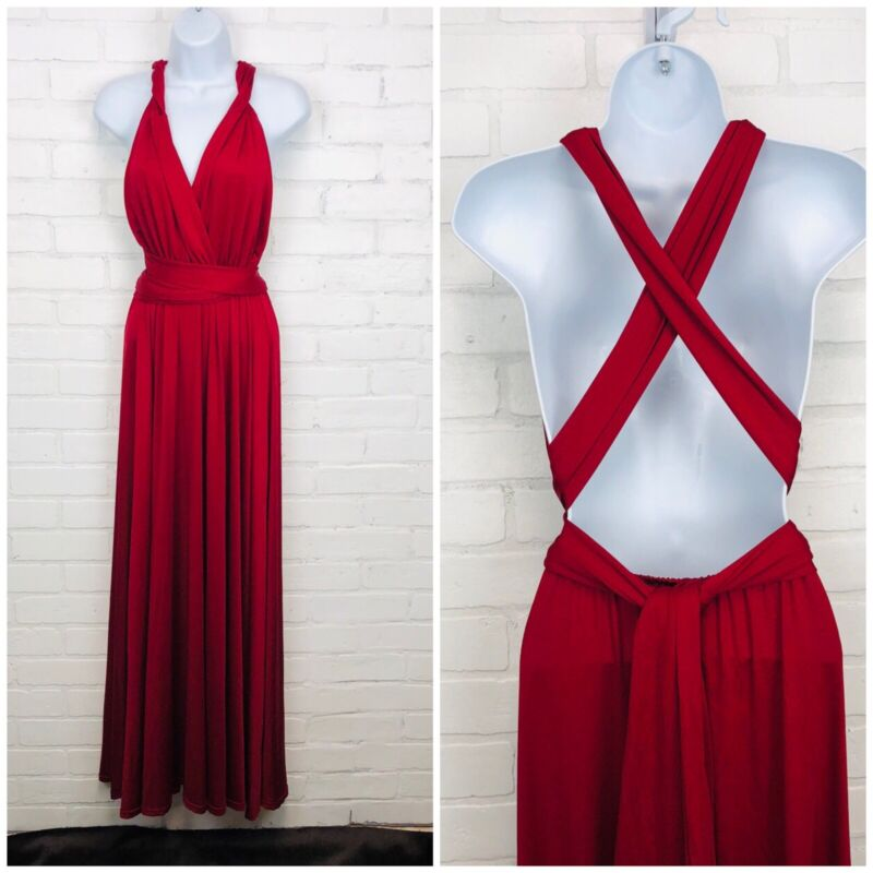 Clothink Red Multiway Evening Dress sz L Bridesmaid Prom Cocktail Formal Long