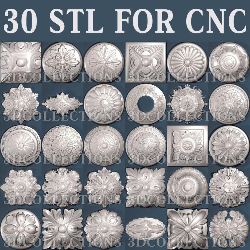 3d stl model cnc router artcam aspire 30 pcs medallion collection