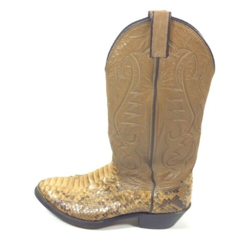 Laredo, Mens, Brown, Leather, Snake, Skin, Cowboy, Western, Boots, Size, 7.5, Made, In, USA