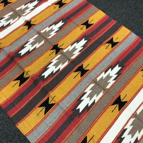 Mexican Blanket Vintage Style Stripe 100% WOOL Yellow Tan Grey Red White Diamond