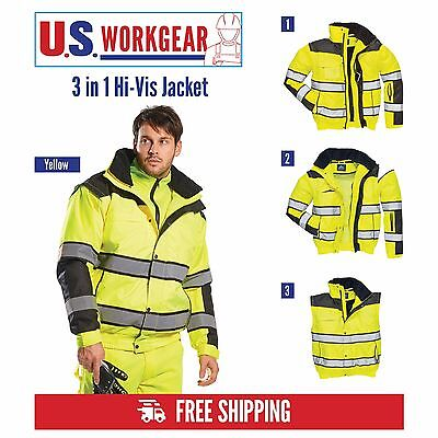 Portwest UC466 Hi-Vis Classic Bomber Jacket With Detachable Sleeves & 7 Pockets
