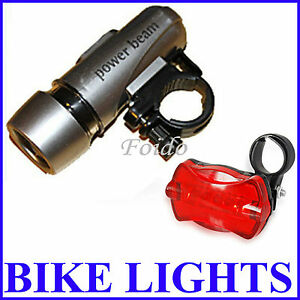 WATERPROOF BRIGHT 5 LED BIKE BICYCLE HEAD & REAR LIGHTS LIGHT 6 MODES WIDE BEAM