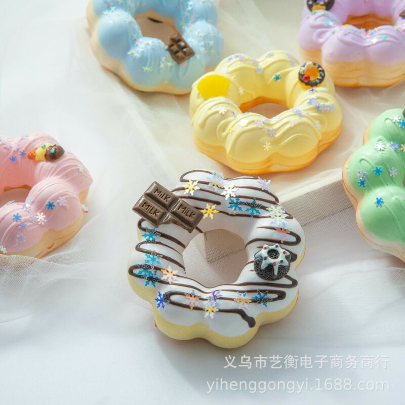 6Pcs Fake Wax Food Fridge Magnet Fake Donut Prop Decor Decoration Display Food