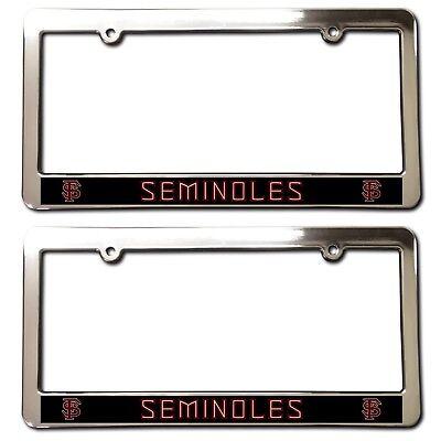 2 FSU SEMINOLES Chrome Faced License Plate Frames ABS car accessories football