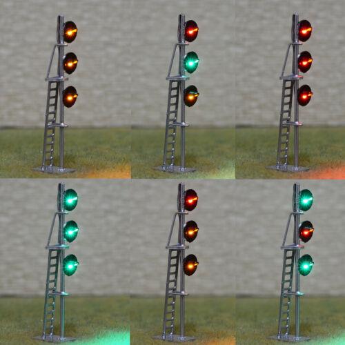 1 x HO scale searchlight interlocking signal block LED tri-colors 3 heads silver