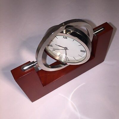 Rotatable All-Axis Directions PRA Desk Clock Bright Chrome Case, Red Wood Base