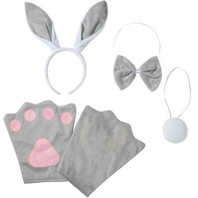 Kostüm Zubehör Set Kinder Hase Häschen Bunny 4-tlg Fasching Karneval Halloween ()