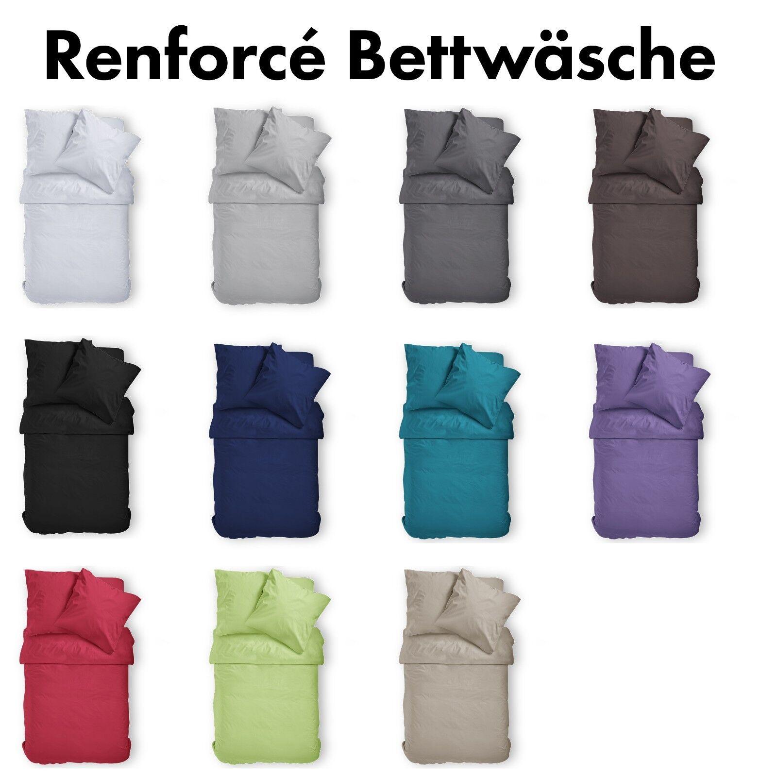 Renforcé Uni Bettwäsche aus 100% Baumwolle 11 Farben RESTPOSTEN mit Sonderpreis