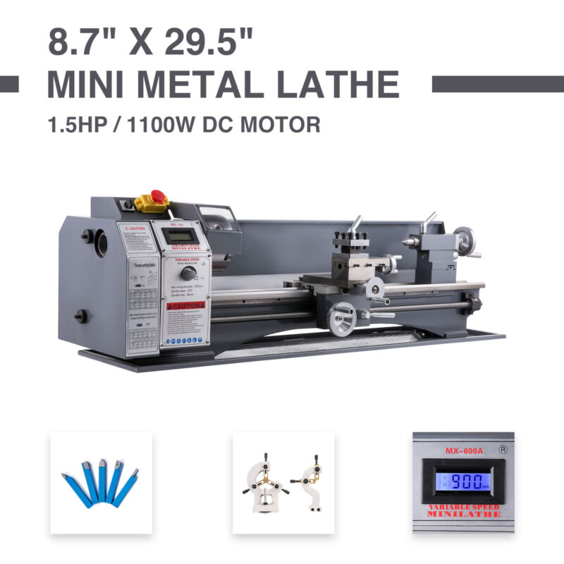"8.7"" x 29.5"" Mini Metal Lathe 1100W Metal Gear Digital Displ"