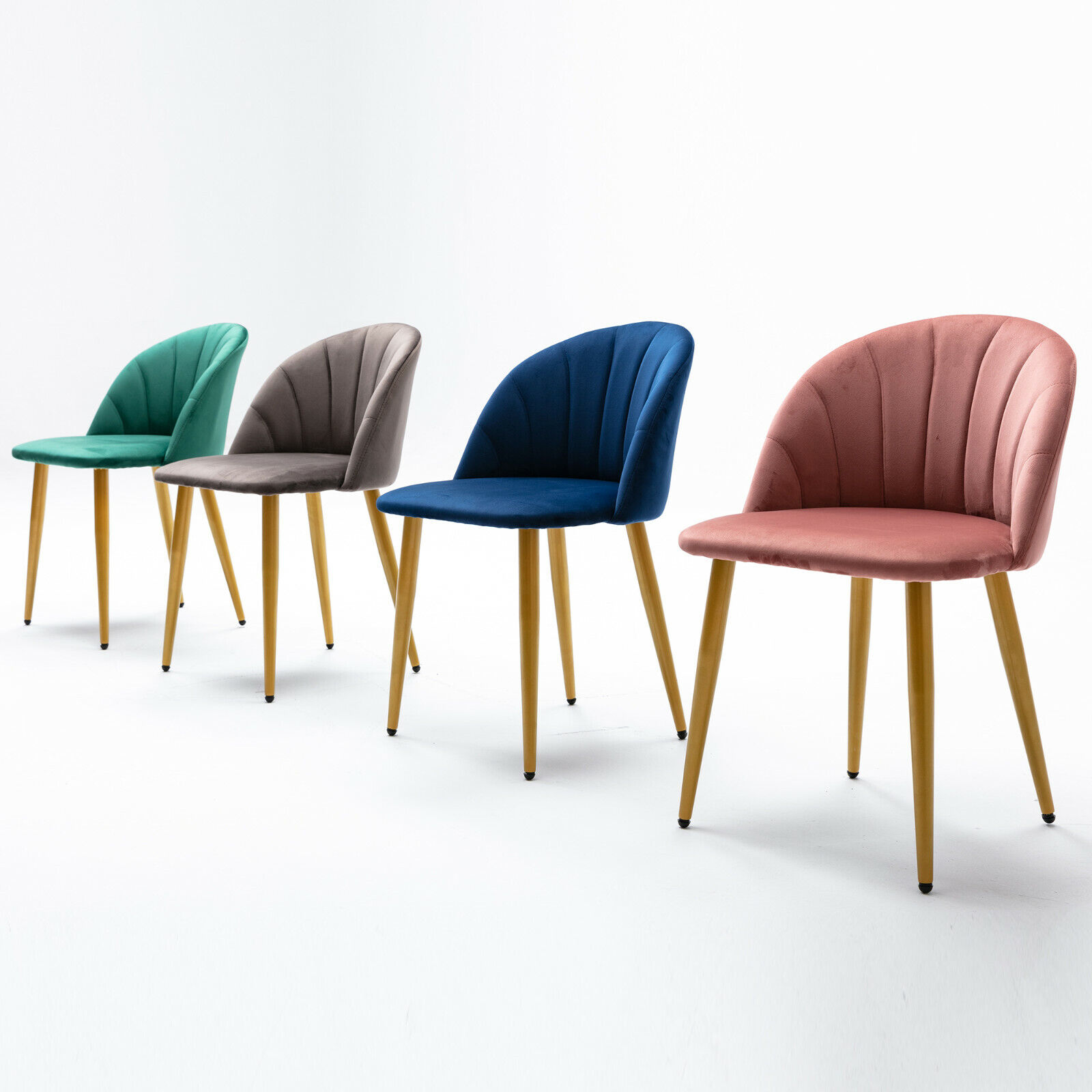 Set of 2 Velvet Dining Chair Modern Side Upholstered with Metal Legs Gren/Pink