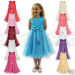 GIRLS-Party-Dress-Flower-Girl-Wedding-Bridesmaid-Age-2-3-4-5-6-7-8-9-10-11-12-13