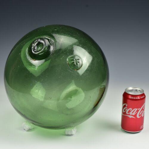 "Large 37"" Vintage Japanese Green FF Hokuyo Blown Glass Fish Float WWII Era"