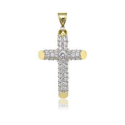 10K Solid Yellow Gold CZ Pave Cross Pendant Cubic Crucifix Necklace Charm Men Wm