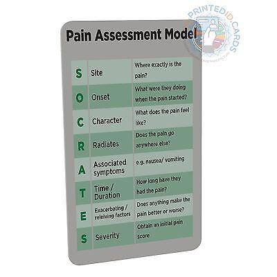 Pain Assessment Model (Doctor, Nurse, Student, Paramedic) pocket reference card