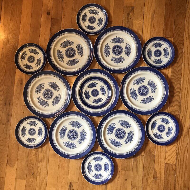 Set of 14 Spode Copeland Fitzhugh Blue 7 Dinner 7 Salad