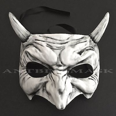 Half White Mask (Halloween White Black Personification Devil Half Face Masquerade Mask)