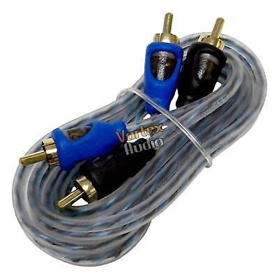 20' Ft Feet 6m Twisted-Pair RCA Cable 2 Male to 2 Male Home Car Audio Amplifier