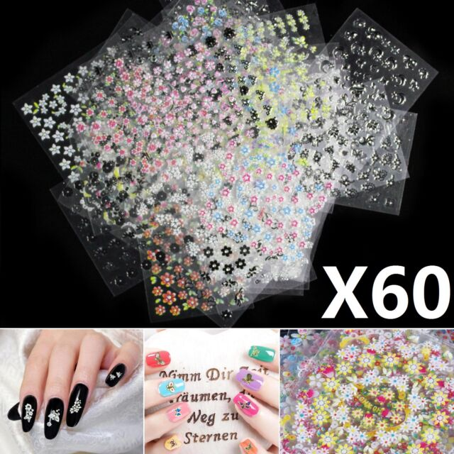 60 Pcs Sheets 3d Design Nail Art Manicure Stickers Tips Decal Flower ...