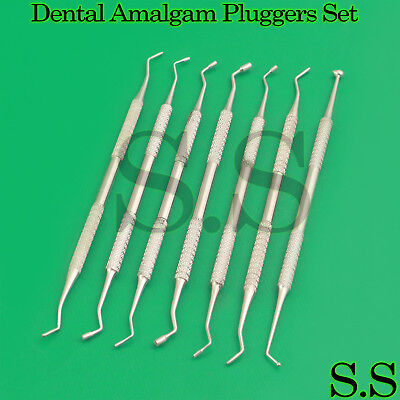 7 Pcs Dental Plastic Amalgam Composite Serrated Pluggers Burnisher Filling Set