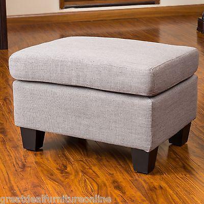 Living Room Grey Fabric Footstool Ottoman w/ Padded Top