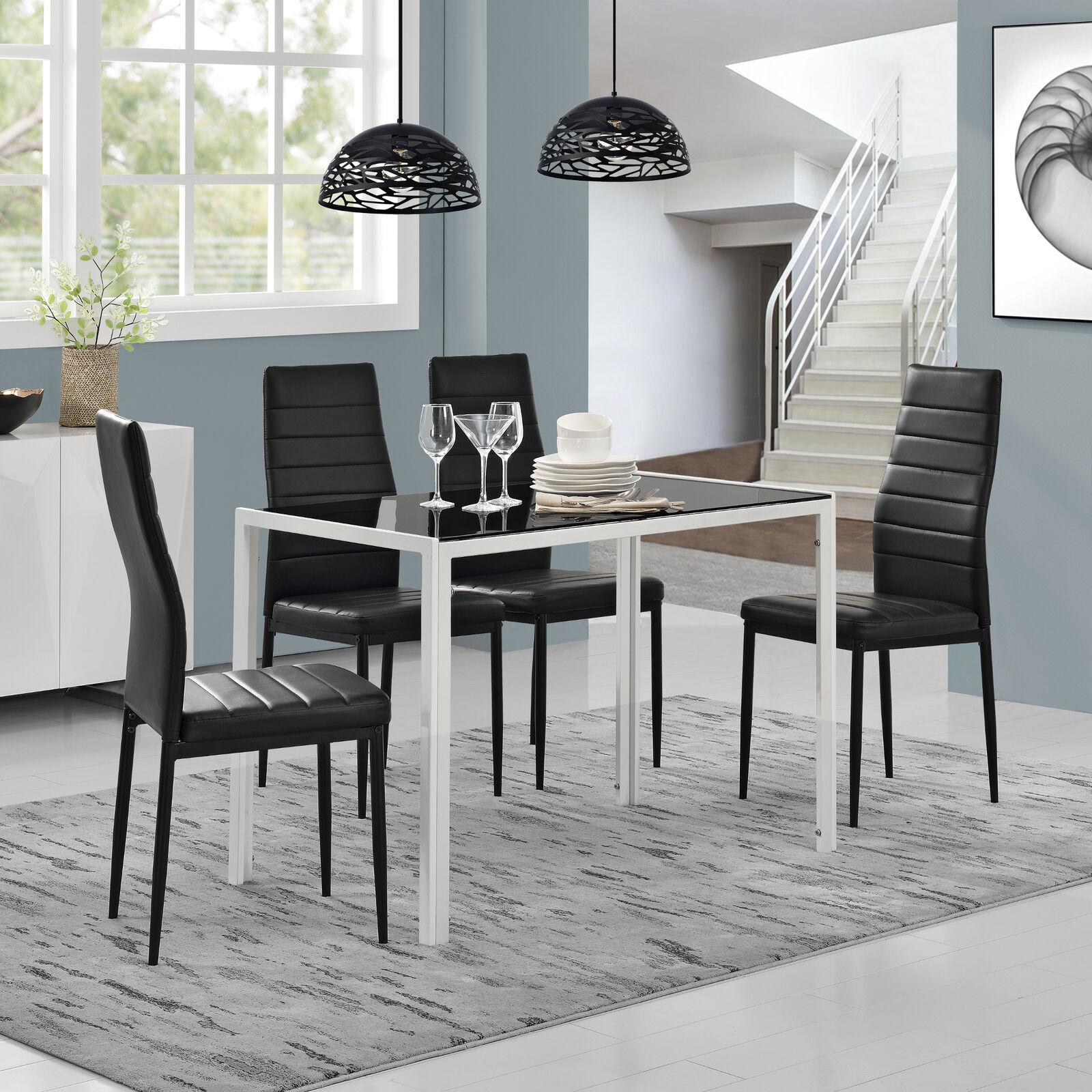 Esstisch + 4 Stühle schwarz/weiß Küchentisch Esszimmertisch Glas Tisch 63