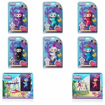 Fingerlings Monkeys White Black Blue Teal Pink Purple Bar Playset   Jungle Gym