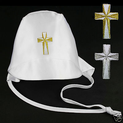 Baby Toddler Boys White Christening Baptism Hat Gold Silver Embroidered Cross - Christening Hat