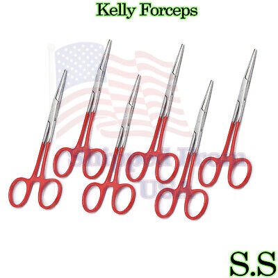 Red - 6 Kelly Hemostat Forceps 5.5 Straight Surgical Dental Instruments