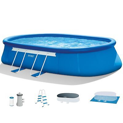 "Intex 18' x 10' x 42"" Oval Frame Swimming Pool Set with Pump, Ladder, and Cover"