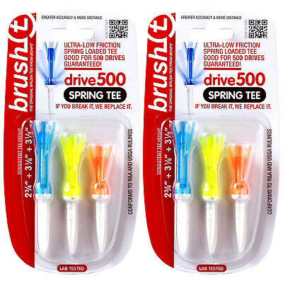 2 ASSORTED COMBO PACKS of 3 Brush T Spring Golf Tees -More Distance Low Friction