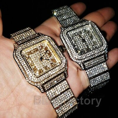Luxury MIGOS Iced out Square Lab Diamond Metal Band Dress Clubbing wrist Watch ()