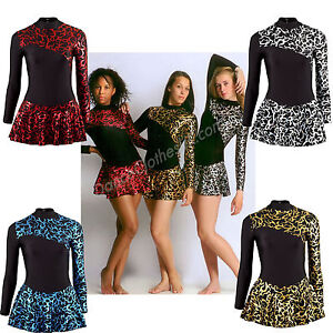 Girls-Womens-Ice-Skating-Dress-Metallic-Gold-Silver-Red-Blue-Flame-Lycra-Fabric