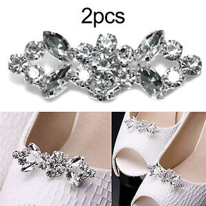Pair Bridal Party Jewelry Shoe Clips Buckle Tone Buckle Rhinestone Crystal Decor