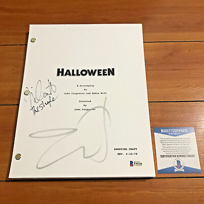 HALLOWEEN MOVIE SCRIPT SIGNED BY JAMIE LEE CURTIS & NICK CASTLE w/ BECKETT COA