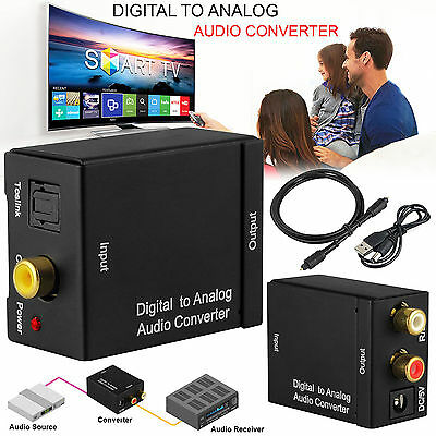 3.5mm Optical Coaxial Toslink Digital to Analog Audio Converter Adapter RCA L/R#