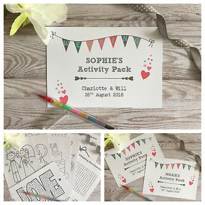 CHILDRENS PERSONALISED A6 WEDDING ACTIVITY PACK BOOK BAG PARTY GIFT FAVOUR HEART
