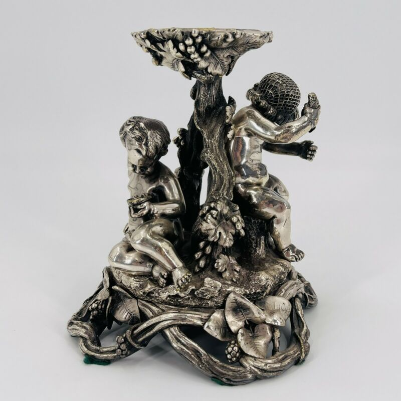 "Antique Christofle Silver Plate Over Bronze Cherub Centerpiece 8"" X 6"" 7 1/2 Lb"