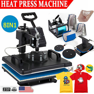 8 in 1 Heat Press Machine Digital Transfer Sublimation T-Shirt Mug Hat Plate Cap