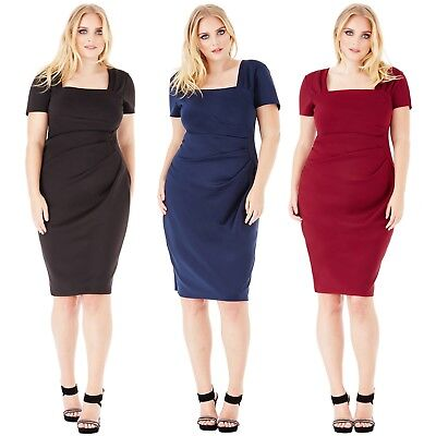 Kleid Etuikleid Plus Size Übergrösse Midi Schwarz Blau Rot 44 46 48 50 52 54 NEU