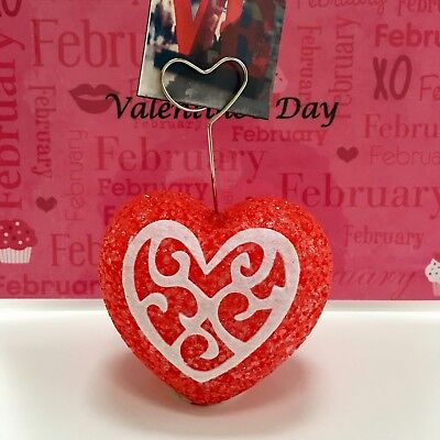 $7.~NEW! Red Heart-Shaped Valentines Day Card Holder w/ Silver Heart-Shaped Clip