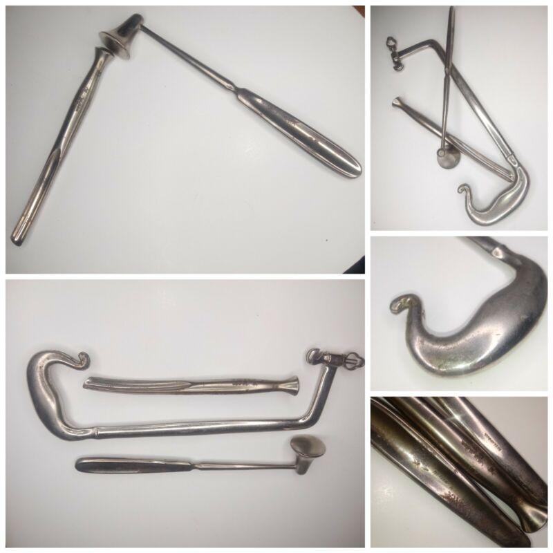 Antique 19thC Haslam Amputation Bone Saw Medical Instrument Bone Chisel Hammer