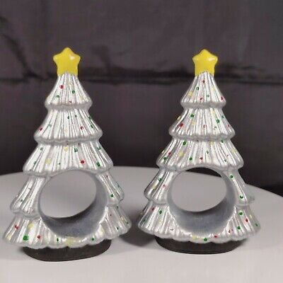 Two Ceramic Christmas Tree Napkin Ring Holders Hand Painted