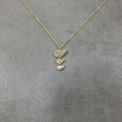 Bird Family GOLD Plated Necklace Charm Pendant Necklace Baby Songbird Lovebirds Bird Pendant Gold Plated Jewelry
