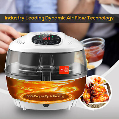 7.4qt Electric 1700w Oil Less Air Fryer Timer And Temperature Control White