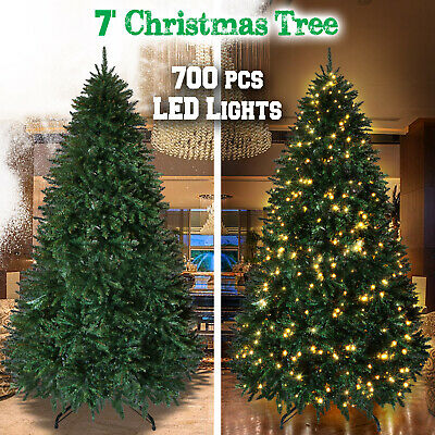 7ft Deluxe Artificial Christmas Tree w 2154 Branch Tips Hinged Unlt/ Prelit Fir ()