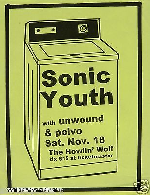 "SONIC YOUTH / POLVO ""WASHING MACHINE TOUR"" 1995 NEW ORLEANS CONCERT TOUR POSTER"