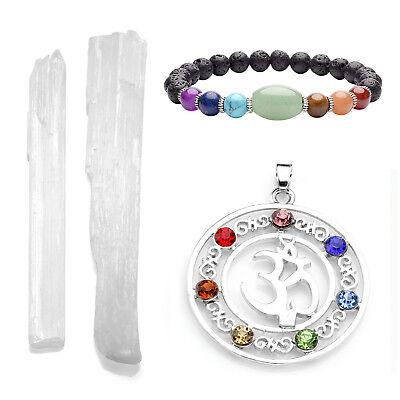 4pcs OM Symbol Chakra Pendant + Bracelet + Rough Stone Selenite Stick Home Decor