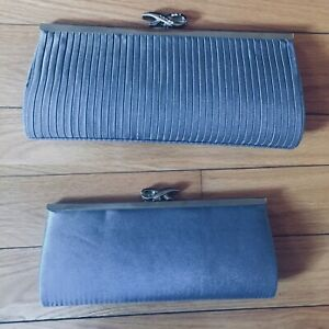Silver grey clutch with chain
