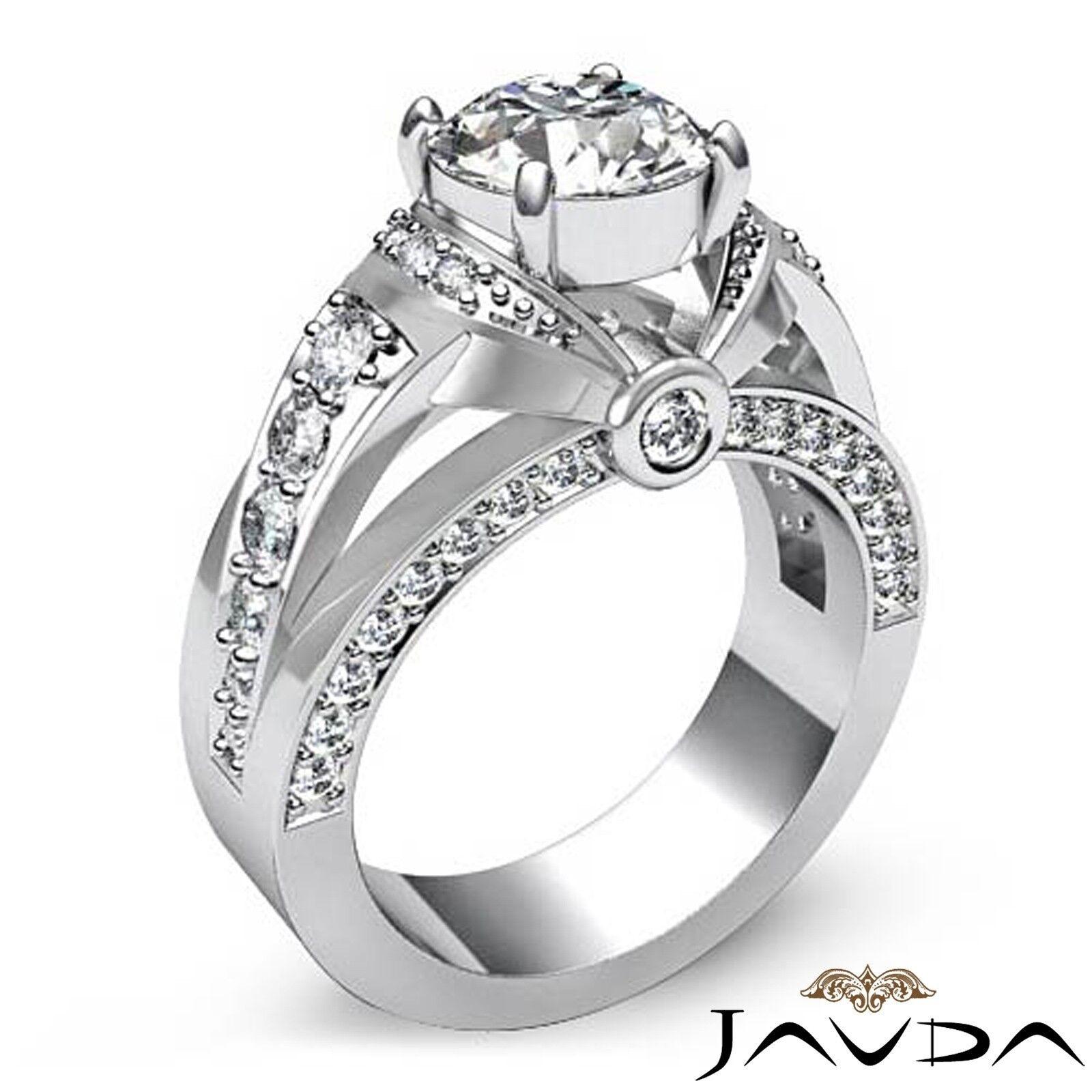 1.7ct Knot Classic Sidestone Round Diamond Engagement Ring GIA H-VVS2 White Gold 1