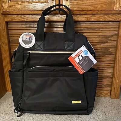 Skip Hop Mainframe Wide Open Diaper Bag Baxkpack Black Nylon New With Tags